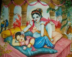 """When Krishna appeared on this earth over five thousand years ago He preceded Radharani. But when Radharani appeared, she seemed to be born blind. No one could get her to open her eyes. Finally Lord Krishna was brought before the child. Only then did Srimati Radharani open her eyes, thus seeing Lord Krishna as the very first person she ever saw."""