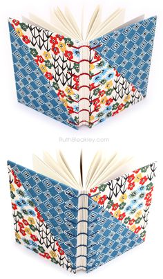 Colorful handmade journals made by Ruth Bleakley from Japanese Katazome Paper