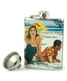 This 'Baggage Claim' Stainless Steel Flask is perfect! #zulilyfinds