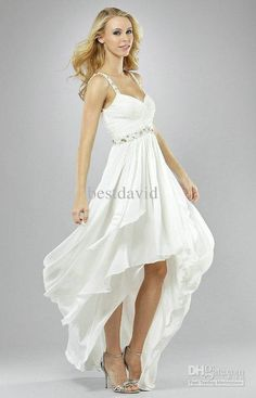 Short Beach Wedding Dresses | Short Front Long Back Beach Wedding Dresses 2013 V-Neck Chiffon Beaded ...