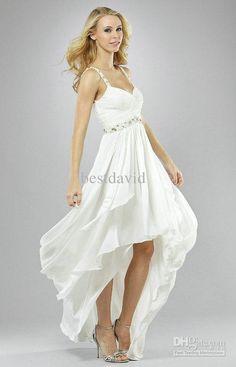 Short Beach Wedding Dresses   Short Front Long Back Beach Wedding Dresses 2013 V-Neck Chiffon Beaded ...