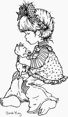 sarah kay coloring pages Cute Coloring Pages, Coloring For Kids, Adult Coloring Pages, Coloring Books, Holly Hobbie, Cute Images, Copics, Digital Stamps, Sketches
