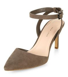 Wide Fit Grey Suedette Pointed Ankle Strap Heels