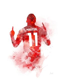 Anthony Martial ART PRINT Manchester United Football Sport Gift Wall Art Home Decor watercolour gift ideas birthday christmas Barcelona Soccer, Fc Barcelona, Manchester City Wallpaper, Anthony Martial, Manchester United Players, Soccer Girl Problems, Man United, Nike Soccer, Soccer Cleats