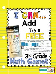 "FREEBIE!!! This ""I CAN"" Math game covers all standards for ADDING in 3rd grade. Perfect for Guided Math & Test Prep! {Common Core}"