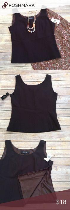 "Kasper brown sleeveless lined top Fully lined. Just beautiful!  APPROX FLAT MEASUREMENTS  21"" ↕️ 10"" side zipper 18"" ↔️ armpits Kasper Tops Blouses"