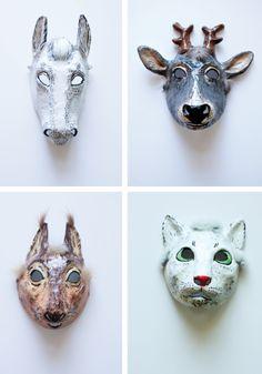 Paper mache masks by Yevgeniya Kilupe