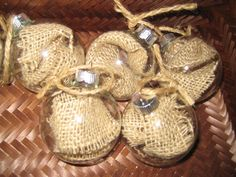 burlap in clear glass - great accent for that rustic Christmas tree