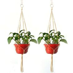 HUELE 2 Pack 48 Inches Plant Hanger for Indoor Outdoor Decorations, Large, 4 Legs  Hand knotted: made from beaded natural jute. Size: large; 4 Legs, 48 inches in total.  Stainless key ring: there is a key ring at the top the string for hanging to the hook (not included) at the ceiling, balcony, window, iron shelf, etc.  Austere style plant hanger: the jute macrame plant hangers are suitable for different colors and patterns flower pot, it will not stand out with this color.  Very easy ...