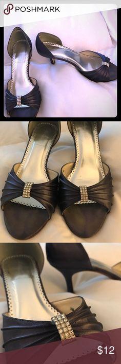 Purple Bridal PeepToe Heels with Rhinestones Purple Rhinestone Peeptoe heels perfect for a wedding! Only worn once as a bridesmaid. Shoes Heels