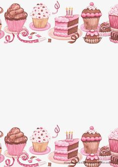 Pink Stationery with Cupcakes, Cakes, etc. Pocket Letter, Cake Clipart, Diy And Crafts, Paper Crafts, Cake Logo, Cupcake Art, Cupcake Images, Note Paper, Writing Paper