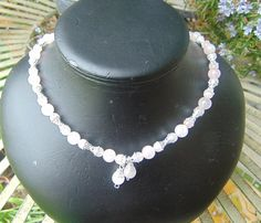 necklace rose quartz silver plate spacers 19 in