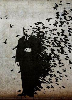 """BANKSY Street Art Lona Impresión Hitchcock Los Pajaros de 8 """"x 10"""" de la plantilla Cartel in Arte, Prints   eBay"""