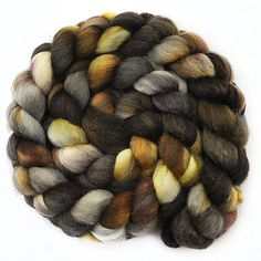 Hand painted roving - OREGON TRAIL - Blue Faced Leicester (BFL) wool spinning fiber, 3.9 ounces