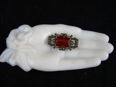 Art Deco Sterling Marcasite and Carnelian Glass Pin Brooch