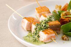 Salmon skewers with almond salsa verde #healthy http://www.taste.com.au/recipes/18256/salmon+skewers+with+almond+salsa+verde