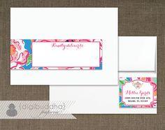 Lilly Pulitzer Inspired Envelope Wrap Address Label Preppy Blue Lucky Charm Floral Shabby Chic PDF Wraparound DIY Address Labels- Millie