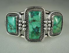OLD NAVAJO SILVER & 3 SQUARED GREEN TURQUOISE BRACELET signed
