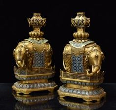 PAIR OF GILT BRONZE AND CLOISONNE ELEPHANTS