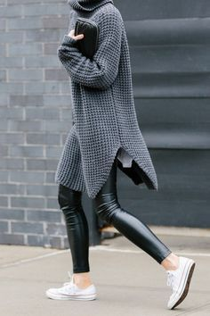 figtny.com   outfit • 42 - Hope Grand Sweater / Aritzia Rebelle Legging / Converese / AW Fumo clutch