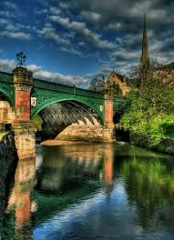 Great Western Bridge in Glasgow, Scotland. The Kelvin river seen here is Glasgow's second most important river; bridged at several points during its 22 mile course. This is at the city's West End,. Glasgow Scotland, England And Scotland, Scotland Travel, Scotland Uk, Glasgow Uk, Places To Travel, Places To See, Magic Places, Thinking Day