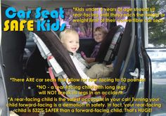 Kids under 4 years of age should sit rear facing until they max out the weight or height limit of their seat.