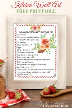 Coconut custard pie recipe is a sweet DIY wall art printable for your farmhouse country kitchen or dining room. Frame and display! Coconut Banana Bread, Coconut Custard Pie, Coconut Muffins, Toasted Coconut, Cream Pie Recipes, Custard Recipes, Coconut Desserts, Coconut Recipes, Grateful Prayer