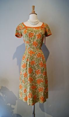 Vintage 1950s Floral Print Cotton Wiggle Dress in by xtabayvintage, $148.00
