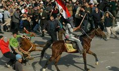 Mubarak supporters on horses in Tahrir Square. Photograph: Chris Hondros/Getty Images