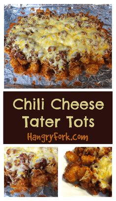 Not Your Average Chili Cheese Fries Recipe - Hangry Fork Tater Tot Recipes, Potato Recipes, Cheese Tots Recipe, Chili Cheese Recipe, Cheese Sauce, Chili Cheese Nachos, Homemade Chili, Homemade Recipe, Cooking For Beginners