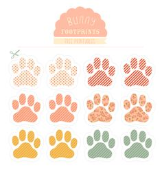 easter bunny footprints - used as start of egg hunt - put them through house Bunny Paws, Bunnies, Dog Paws, Easter Printables, Free Printables, Happy Easter, Easter Bunny, Easter Eggs, Cat Party