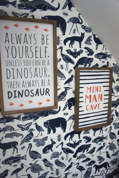 Kids Reading Nook with Removable Wallpaper - Biggest Little Dreamer - Liv Ceschi Reading Nook Kids, Reading Wall, Dinosaur Wallpaper, Animal Print Wallpaper, Rental Home Decor, Framed Quotes, Pottery Barn Kids, Boy Room, Diy For Kids