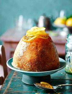 We've taken a steamed pudding and given it a zesty twist. Let's party with this lemon and ginger steamed pudding Steamed Pudding Recipe, Steamed Cake, Pudding Recipes, Cake Recipes, Dessert Recipes, No Bake Desserts, Just Desserts, Delicious Desserts, Gateaux Cake