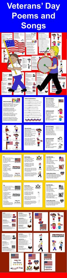 $ Veterans' Day and Patriotic Poems and Songs   ★ 29 page file – All Illustrated with Patriotic themed Graphics  ★ 2 Versions – Color and B/W.   ★ 16 Poems/Songs, some about Veterans' Day and some about the flag and patriotism.  ★ Just choose those you like, and print just those pages.
