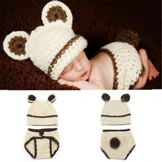 7a5fdd298595 Crochet Set Newborn BABY Photo Prop Costume - Handmade Knitted characters  for infant Baby Outfits Newborn