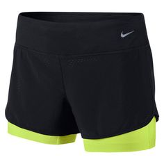 Short Running Nike Perforated Rival 2en1 Femme Noir/Citron