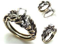 Vintage Handmade Leaves Diamond Engagement Ring 14K Solid Gold #rings #vintagejewelry #antiquejewelry