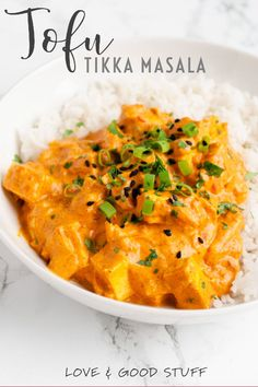 Tofu tikka masala - easy, vegan, and delicious! Tofu is simmered in a spiced creamy tomato and coconut milk sauce in this cozy meatless dish. On the table in under 40 minutes, its a great meatless meal for busy nights. Vegan Indian Recipes, Vegetarian Recipes, Vegan Indian Food, Recipes For Tofu, Easy Vegetarian Dishes, Tofu Dinner Recipes, Tofu Meals, Easy Recipes, Easy Delicious Recipes
