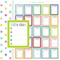 Bill Checklist Printable Stickers Erin Condren by SpringHomePrintables
