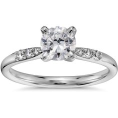 Blue Nile 3/4 Carat Preset Petite Diamond Engagement Ring (3,145 CAD) ❤ liked on Polyvore featuring jewelry, rings, wedding rings, diamond jewelry, 14k ring, round ring, diamond engagement rings and round wedding rings