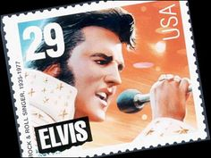 """Elvis Presley commemorative U. This is the """"old"""" Elvis design that lost in a popularity poll to the """"young"""" Elvis design CREDIT: USPS Elvis Presley Stamps, Happy Birthday Elvis, Young Elvis, Star David, Unique Photo, American Singers, Postage Stamps, Rock N Roll, Over The Years"""
