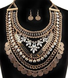 Statement-Layered-Gold-Metal-Bead-Coin-Crystal-Rhinestone-Necklace-Earrings-Set