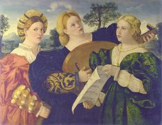 As the woman in the centre plays a lute, her companions sing; the figure on the right holds the score. In the past this painting has been attributed to the School of Palma Vecchio, Lotto, Pordenone and Bonifazio. The dress indicates a date in the Renaissance Music, Renaissance Kunst, Renaissance Paintings, Renaissance Fashion, Italian Renaissance, Dresden, Print Photos Online, Cheap Canvas Prints, National Gallery