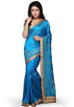 Buy Blue Art Silk Saree with Blouse online, work: Embroidered, color: Blue, usage: Wedding, category: Sarees, fabric: Art Silk, price: $54.50, item code: SBNA115, gender: women, brand: Utsav