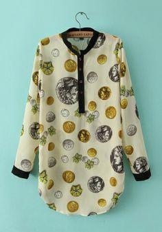 Beige Chiffon Collar Long Sleeve Print Tops