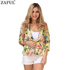 ZAFUL 2017 New Fashion Women Floral Leaf Pattern Print Casual Blazerr Label 3/4 Sleeves Short Coats Vintage Feminino Jackets