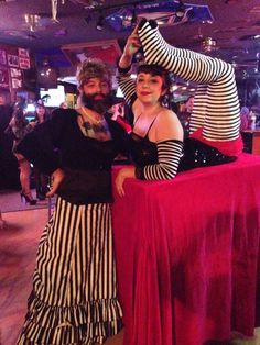 Brandy and Vlad Halloween 2013 - Circus Sideshow: The Bearded Lady and The Contortionist- My husband and I on Halloween :)