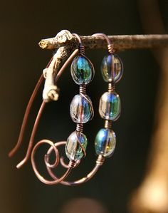 Spring Rain Earrings  Copper Tendrils with by AllowingArtDesigns, $16.00