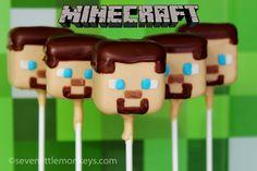 """To nie jest tak wiele """"how-to"""" stanowisko jako """"można to zrobić"""" post na Minecraft Piękna traktowanie.  Sprawdź te Steves i inne niesamowite pomysły cake pop, na http://sevenlittlemonkeys.com"""