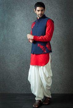 Groom Wear - Red Kurta with Nehru Jacket Mens Indian Wear, Mens Ethnic Wear, Indian Groom Wear, Indian Men Fashion, Mens Fashion Blog, Men's Fashion, Skirt Fashion, Fashion Dresses, Fashion Tips
